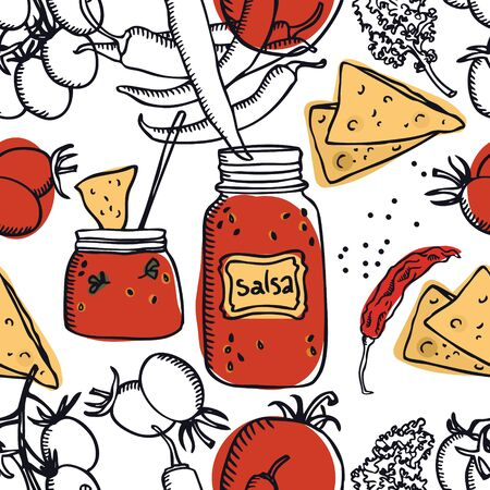 Food collection Delicious salsa Tomatoes, chili peppers and chips Seamless pattern set