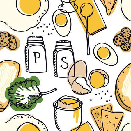 Delicious breakfast Eggs and toasts Seamless pattern set Illustration