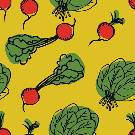 Vegetarian food collection radish and spinach Yellow background set