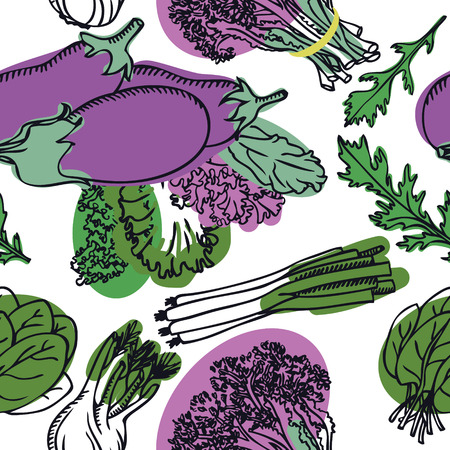 Food Collection Delicious spring salad with eggplant Seamless pattern set
