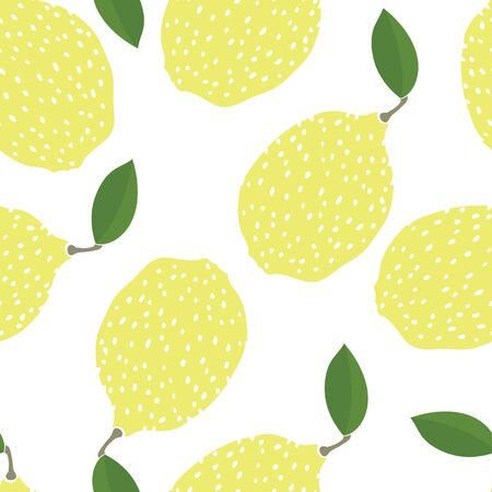 Food collection Funny lemons Hand drawn Seamless pattern set
