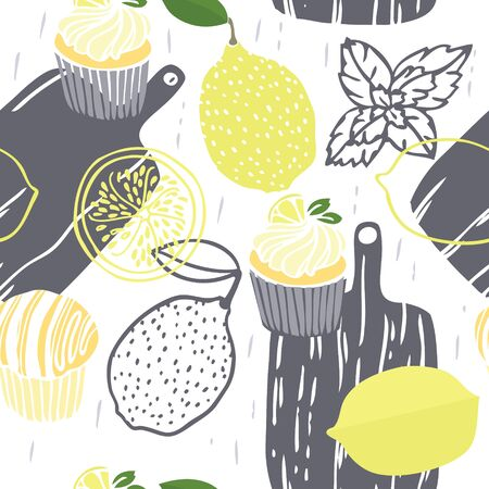 Food collection The cutting boards Lemon muffins with mint Hand drawn Seamless pattern set Illustration