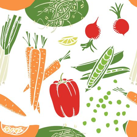 Food collection Pumpkin, carrots and soybean sprouts Seamless pattern set