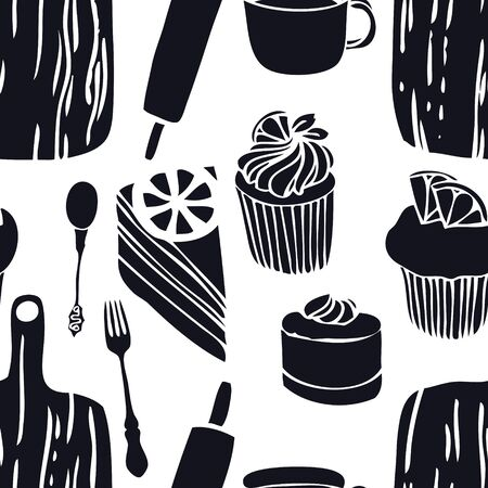 Food collection The cutting boards Muffins Seamless pattern set Vectores