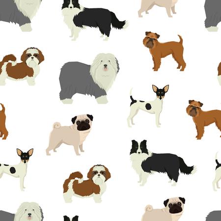 Dog pattern Geometric style set Stock Illustratie