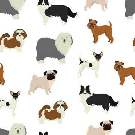 Dog pattern Geometric style set Illustration