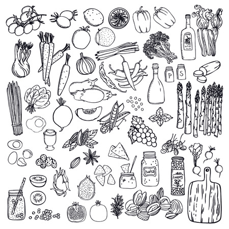 Food set Vegetables and fruits Black isolated objects Hand drawing Ilustração
