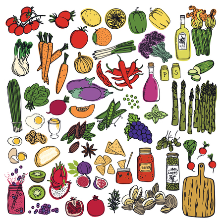 Food set Vegetables and fruits isolated objects Hand drawing Ilustração