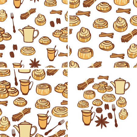 Three seamless pattern Food collection Cinnamon buns and bakery spices Isolated objects Hand drawing set Ilustracje wektorowe