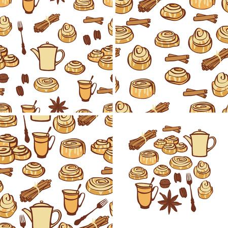 Tre modelli senza cuciture Raccolta alimentare Panini alla cannella e spezie da forno Oggetti isolati Set da disegno a mano Vettoriali