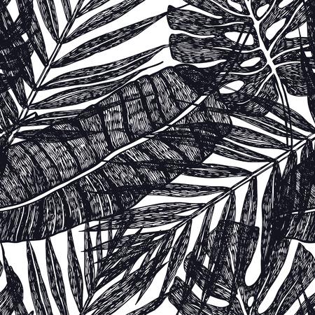 Feuilles de palmiers tropicaux Modèle sans couture de vecteur Illustration de fond Couleur noire