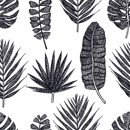 Tropical palm leaves Vector seamless pattern Black background set