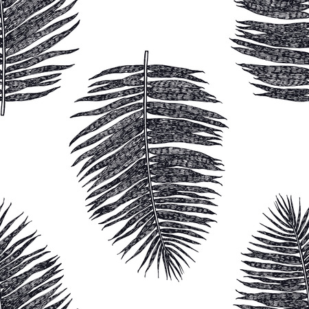 Palm leaves Seamless pattern Black background set