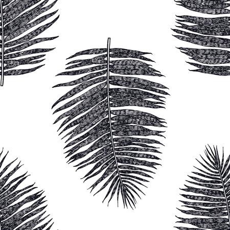 Palm leaves Seamless pattern Black background set