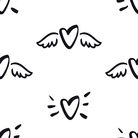 Hearts with wings Seamless Pattern Valentine day illustration set