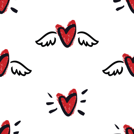 Hearts with wings Hand Drawing Seamless Pattern Valentine day illustration set
