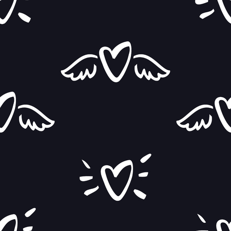 Hearts with wings Seamless Pattern Valentine day Black background set