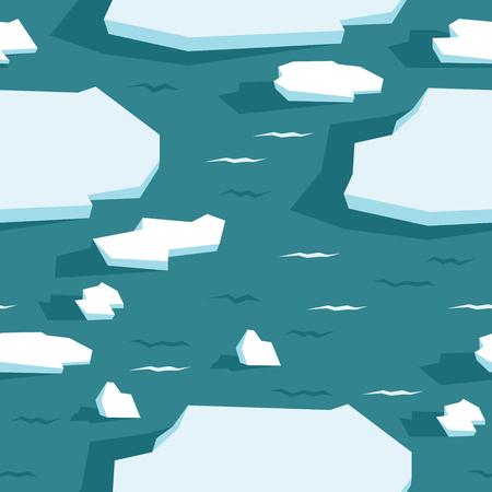 Drift ice Sea ice floes Seamless pattern The polar regions Wildlife set