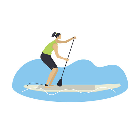 Stand Up Paddle Boarding Woman on a board Vector illustration set Illustration