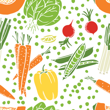 Fresh vegetables Seamless pattern set