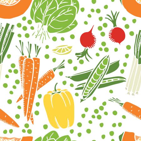 Fresh vegetables Seamless pattern set