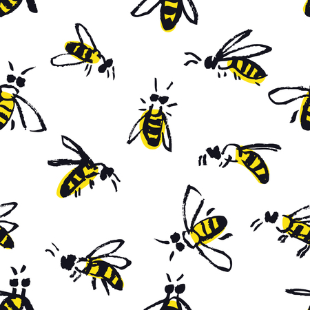 Bees Hand drawing Seamless pattern set