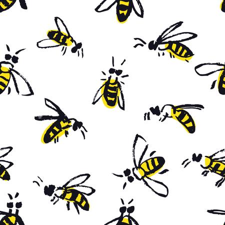 Bijen Hand tekenen naadloze patroon set