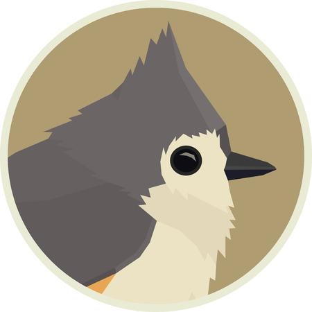 Tufted titmouse Vector illustration of bird in round frame set Vettoriali