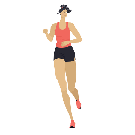 Woman running Healthy lifestyle Vector illustration Isolated object Set