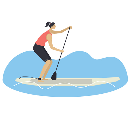 Stand Up Paddle Boarding Vector illustration of a woman on a board Set