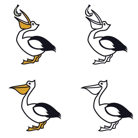 Pelican Vector line icons of the birds Color logo design set