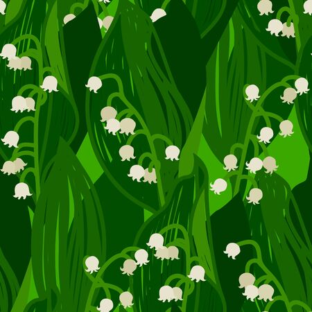 Flowers Lily of the valley Summer seamless pattern set