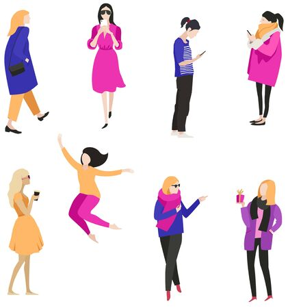 Vector illustration People Women Trendy style and colors Isolated objects set
