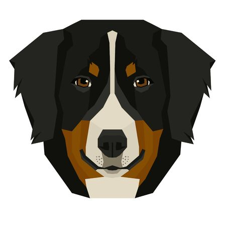 Vector illustration of the dog's head Bernese Mountain Dog Isolated object set