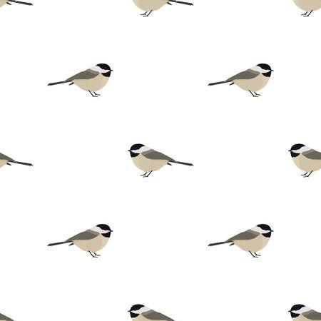 Ilustración de vector conjunto de patrones sin fisuras Chickadee Ilustración de vector