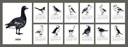 Kalendarz 2020 Zestaw czarnych sylwetek ptaków