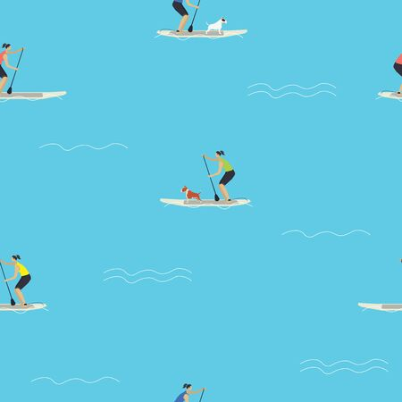 Stand Up Paddle Boarding with your dog Seamless pattern set