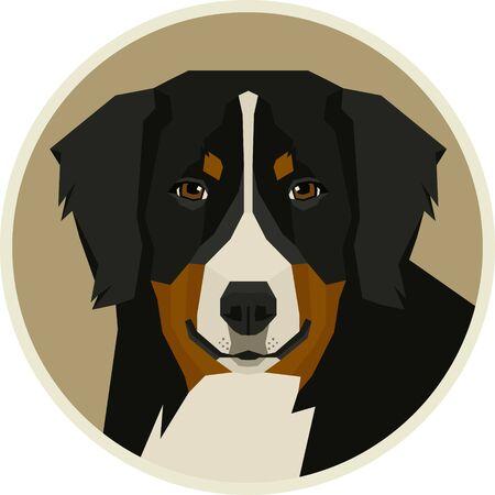 Dog collection Bernese Mountain Dog Geometric style Round frame set