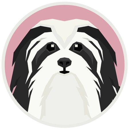 Vector illustration Dog collection Havanese Dog Geometric style Round frame set 일러스트