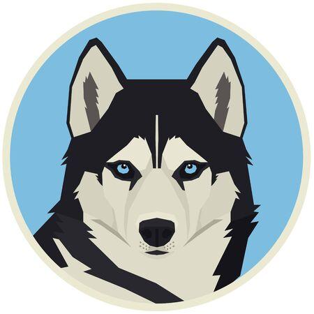 Vector illustration Dog collection Siberian Husky Geometric style Round frame set Ilustración de vector