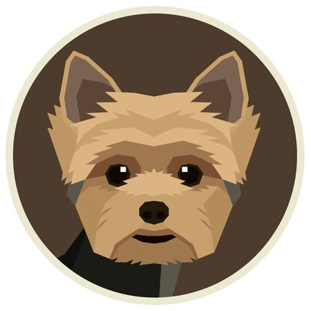 Vector illustration Dog collection Yorkshire terrier Geometric style Round frame set  イラスト・ベクター素材
