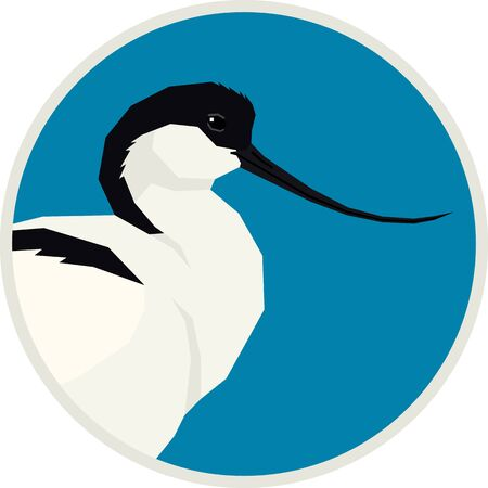 Pied avocet bird Vector illustration Round frame set 矢量图像