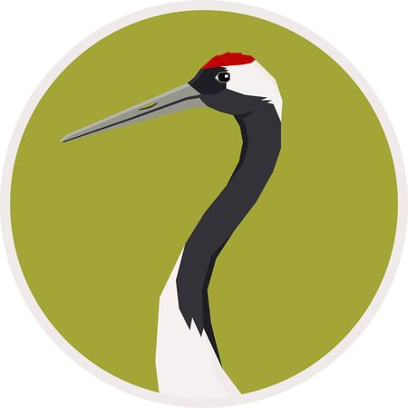 Birds collection Red-crowned crane Vector illustration Round frame set