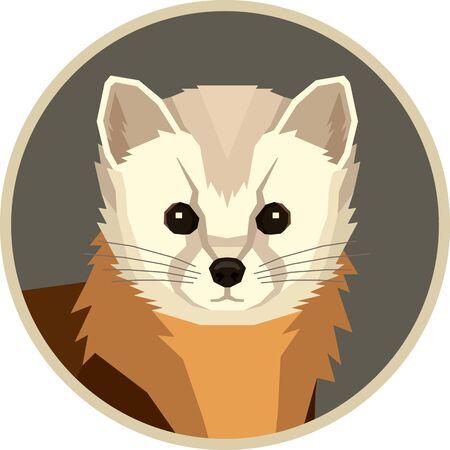 Wild animals Vector illustration Pine Marten Round frame Geometric style set
