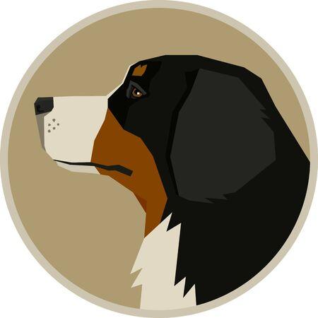 Dog Breeds Vector illustration Bernese Mountain Dog Round frame set