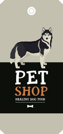 Vector illustration Dog collection Siberian Husky Poster Pet Shop Design label set