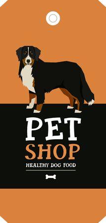 Vector illustration Bernese Mountain Dog Poster Pet Shop Design label set