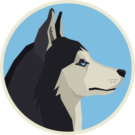 Vector illustration Dogs Siberian Husky Round frame set