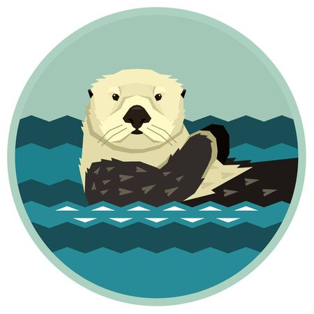 Sea Otter floating in the water Wild animals Cartoon Round frame Vector illustration Geometric style set