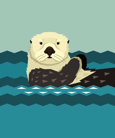 Sea Otter che galleggia nell'acqua Animali selvatici Cartoon Vector illustration Stile geometrico set